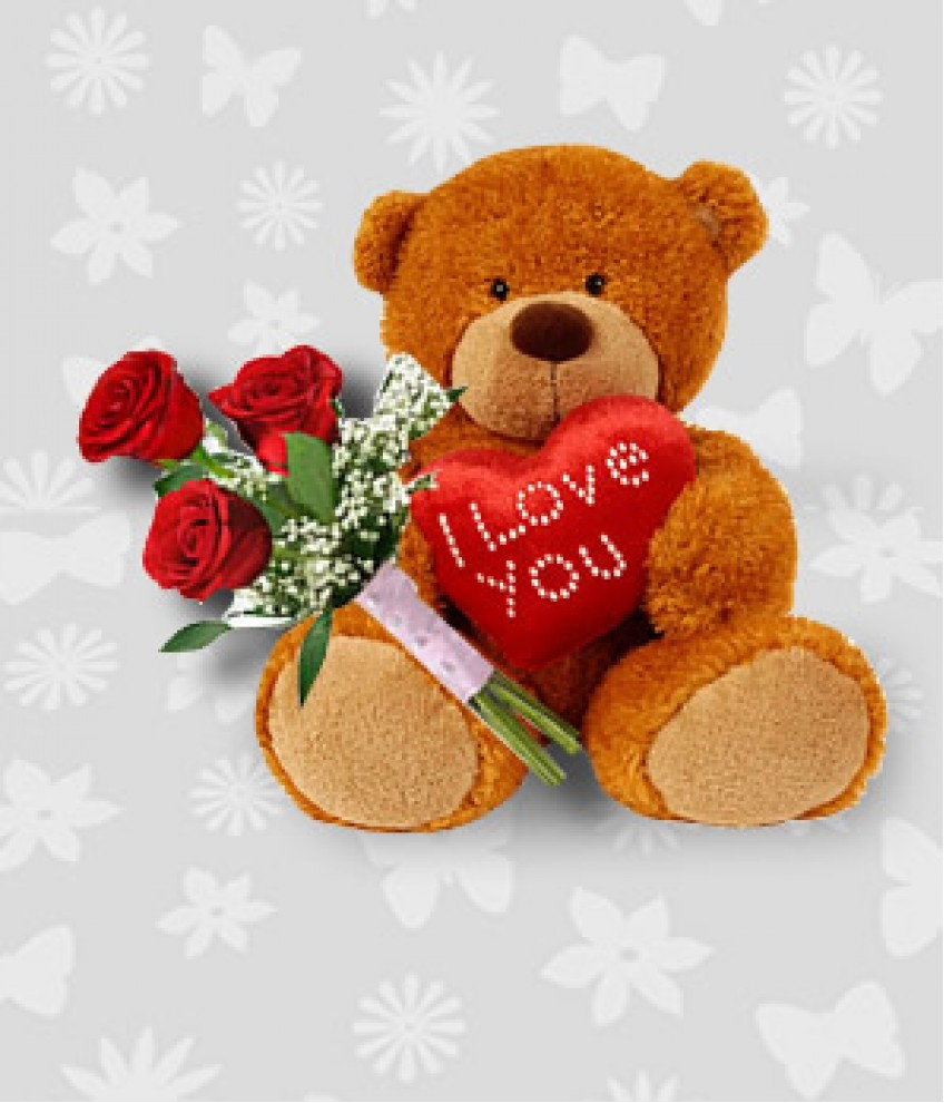 Teddy bear with pink roses - photo#31