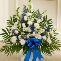 Blue And White Sympathy Floor Baske