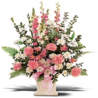 White And Pink Funeral Flowers