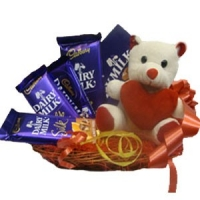Teddy with Cadbury Basket