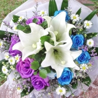White Lily with 12 Blue Roses