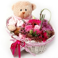 Flower Basket and BRownTeddy