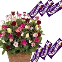 Multi Roses N Cadbury Chocolates