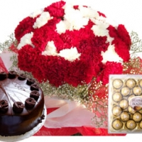 Carnations, sweets, cake