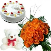 Orange roses cake N teddy