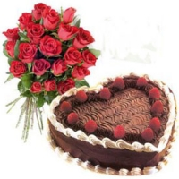 Red Roses Bunch w/ Heart Shape Black Forest Cake