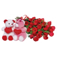 Couple bear with hearts & 24 stems Red Roses Bouquet
