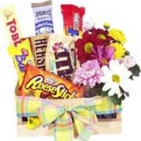 Flowers + chocolate basket