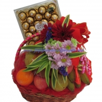 FLOWER FRUIT BASKET WITH FERRERO ROCHER