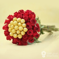 36 red roses & 12 FERRERO BUNCH