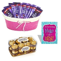 A Basket of Chocolate Treat with Birthday Greeting Card