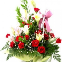 Lily and red roses basket