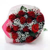 Romantic 12 Red Rose Bouquet