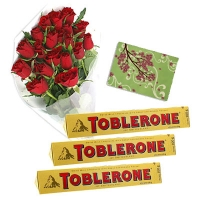 24 Roses Bouquet + 3 Toblerone